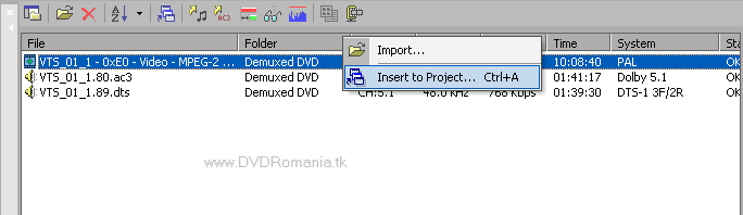 """Insert to Project…"""